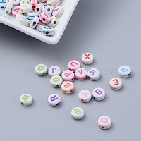 Craft Style Flat Round Initial Acrylic Beads, Mixed Color, 7x3.5mm, Hole: 2mm