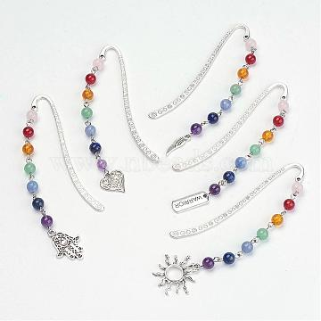 Tibetan Style Alloy Bookmarks, with Mixed Gemstone Beads, Chakra Theme, Mixed Shapes, Antique Silver, 83.5x13x1.5mm(AJEW-JK00127)