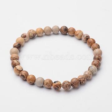 Round Natural Picture Jasper Stretch Bracelets, 56mm, Bead: 6mm(BJEW-O117-03)