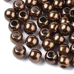 Perles européennes en plastique ABS d'imitation perle, perles de rondelle avec grand trou , chameau, 11.5~12x10mm, Trou: 5mm(X-MACR-R530-12mm-A46)