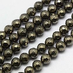 """Chapelets de perles de pyrite naturelle , rond, facette, 8mm, trou: 1mm; environ 50 pcs/chapelet, 15.74""""(G-L031-8mm-03)"""