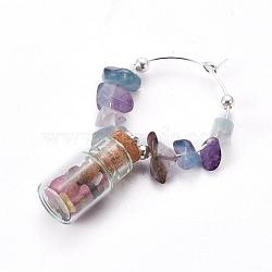 стеклянная бутылка бокал амулеты, с флюоритом и посеребренными металлическими выводами, 50x26x10 mm(AJEW-JO00128-02)