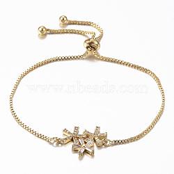 """Bracelets réglables en laiton avec zircone cubique à micro-pavé, bracelets bolo, fleur, or, 10-1/4"""" (260 mm); 1.2mm(BJEW-E317-15G)"""