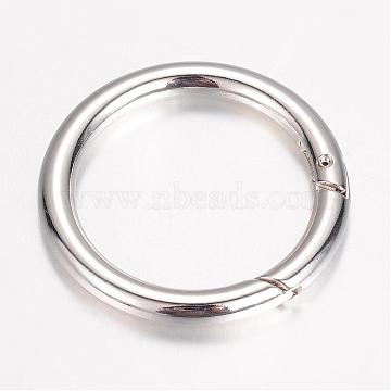 Alloy Spring Gate Rings, O Rings Findings, Spring Gate O Rings, Platinum, 44x5mm, Inner Diameter: 34mm(PALLOY-D348-22P)