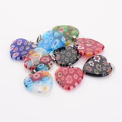 Perles en verre de millefiori manuelles, avec des agrafes de fer, cœur, couleur mixte, 20x20x3.5mm, Trou: 2mm(G23C9011)