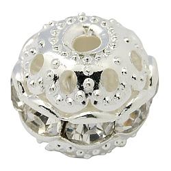 Perles en laiton de strass, Grade a, rond, de couleur métal argent, clair, taille: environ 10mm de diamètre, Trou: 1.2mm(X-RB-H041-20)