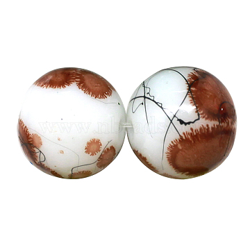 Baking Painted Drawbench Glass Bead Strands, Round, SaddleBrown, 8~8.5x7.5~8mm, Hole: 1.5mm; about 106pcs/strand, 31.4inches(X-DGLA-S106-8mm-AD29)