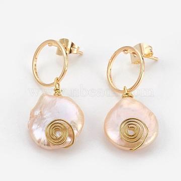 Flamingo Pearl Stud Earrings
