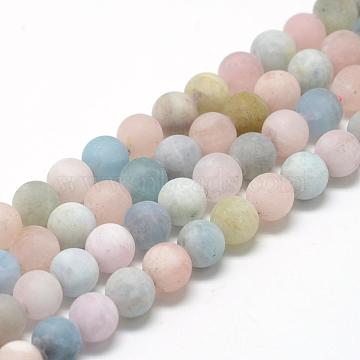 Natural Morganite Beads Strands, Frosted, Round, 10mm, Hole: 1mm; about 40pcs/strand, 15.7inches(G-R446-10mm-35)