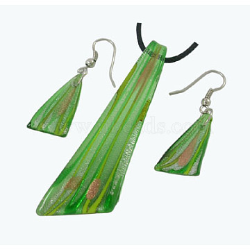Green Foil Glass Earrings & Necklaces