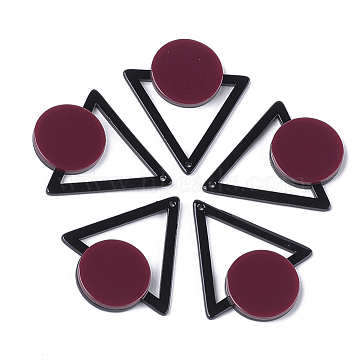 Cellulose Acetate(Resin) Pendants, Triangle with Flat Round, Brown, 42.5x37x4mm, Hole: 1.5mm(X-KY-S158-35D)