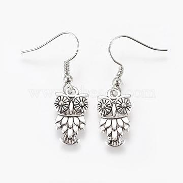 Fashion Halloween Tibetan Style Earrings, with Brass Earring Hooks, Antique Silver, 36mm(X-EJEW-JE00295-08)