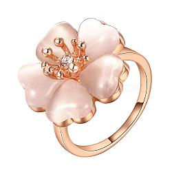 настоящие 18 розовые позолоченные розовые позолоченные кольца из кошачьего глаза для женщин, с чешскими стразами, Размер 8, 18.1 mm(RJEW-BB09426-8RG)