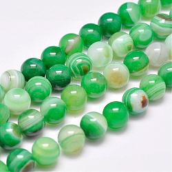 Natural Striped Agate/Banded Agate Bead Strands, Dyed & Heated, Round, Grade A, SpringGreen, 12mm, Hole: 1mm; about 32pcs/strand, 15.1inches(385mm)