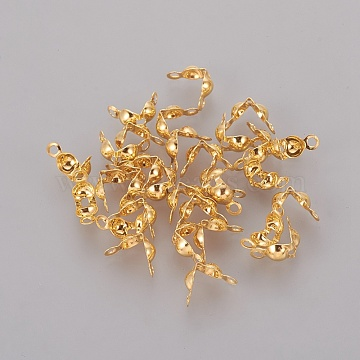 Iron Bead Tips, Calotte Ends, Clamshell Knot Cover, Iron End Caps, Open Clamshell, Golden, 7.5x4mm, Hole: 1mm; Inner Diameter: 3mm; about 671pcs/50g(X-IFIN-ZX020-G)