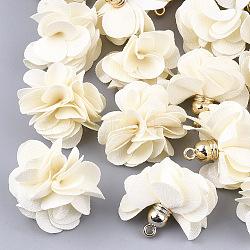 тканевые подвески, с пластмассой ccb, цветок, золотой, Cornsilk, 26~27x17~28 mm, отверстия: 1.6 mm(X-FIND-S300-01W)