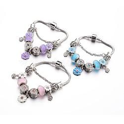 Bracelets européens de mode en laiton, avec des perles de verre et perles d'émail en alliage de strass, couleur mixte, 190x3mm(BJEW-L583-02)