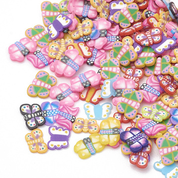 Handmade Polymer Clay Cabochons, Nail Art Decorations, Butterfly, Mixed Color, 3.5~6x2.5~4x0.3~1.5mm(X-CLAY-T011-03)