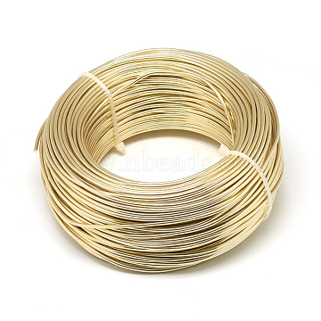 Aluminum Wire, Flexible Craft Wire, for Beading Jewelry Doll Craft Making, Champagne Yellow, 15 Gauge, 1.5mm; 100m/500g(328 Feet/500g)(AW-S001-1.5mm-26)