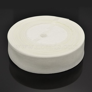 Sheer Organza Ribbon, Wide Ribbon for Wedding Decorative, White, 1 inches(25mm), 50yards/roll(45.72m/roll)(X-RS25mmY001)