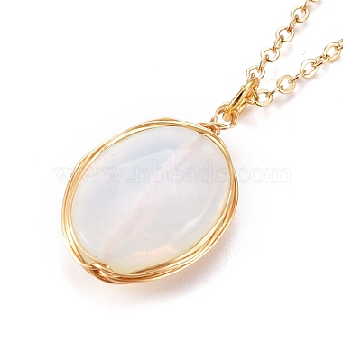 Faceted Opalite Wire Wrapped Pendant Necklaces(NJEW-JN03080-01)-1