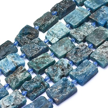 Natural Apatite Beads Strands, Rectangle, Rough, 18.5~21.5x12.5~14.5x6.5~8.5mm, Hole: 1.2mm; about 18pcs/strand, 14.84''(37.7cm)(G-L552Q-07)