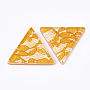 Resin Cabochons, with Lace Inside, Triangle, Gold, 36.5x41x7.5mm