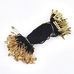 Ценник одежды повесить, полипропиленовый шнур, с предохранительной булавкой и застежкой, золотые, чёрные, 120x1 мм; булавка: 20x5x2 мм, булавка: 0.5 мм; барная застежка: 16x2x1.5 мм; около 1000 шт. / пакет(CDIS-T001-22A-G)