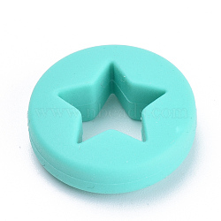 Food Grade Environmental Silicone Beads, Chewing Beads For Teethers, DIY Nursing Necklaces Making, Flat Round with Star, Cyan, 21x7mm, Hole: 2mm(X-SIL-T040-01)