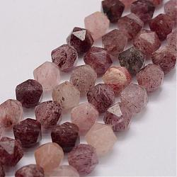 Natural Strawberry Quartz Bead Strands, Star Cut Round Beads, Faceted, 11.5~12x10x10mm, Hole: 1mm; about 35pcs/strand, 15.1