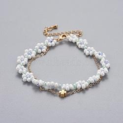 """Bracelets en laiton multi-brins, avec des perles de rocaille en verre et des chaînes de câbles, trèfle, colorées, 13-1/4""""~14-5/8"""" (33.4~37.2cm); 1~1.5mm(BJEW-JB04291-03)"""