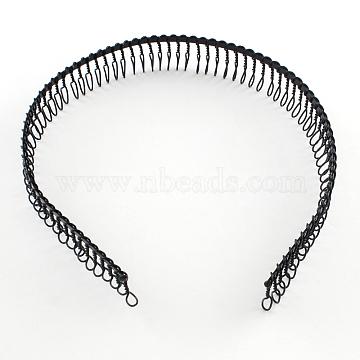 Hair Accessories Iron Hair Band Findings, Black, 110mm(OHAR-Q043-05)