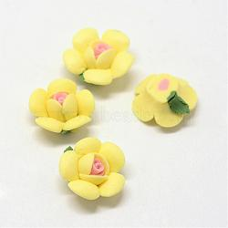 Фарфора ручной работы кабошонов, Китай глиняные шарики, цветок, желтые, 14~16x14~15x6~7.5 мм(PORC-S1003-27B)