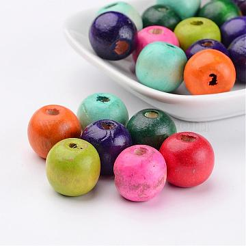 Mixed Lead Free Round Natural Wood Beads, Dyed, about 16mm wide, 15mm high, hole 4mm(X-TB16mmY)