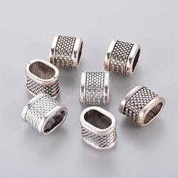 Tibetan Style Slide Charms, Lead Free & Nickel Free, Oval, Antique Silver, 11x14x10mm, Hole: 10x7mm(X-TIBEB-4804-AS-FF)