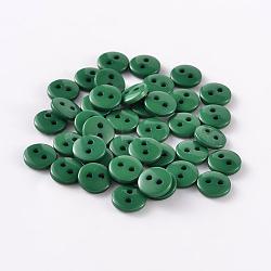 Boutons de couture en résine ronde et plate pour la création de costumes avec 2 trou, darkgreen, 9x2mm, Trou: 1mm(BUTT-E119-14L-14)