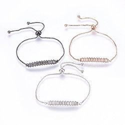 """Bracelets réglables en laiton à micro-pavé de zircons cubiques, Bracelets coulissants, bar, couleur mixte, 11"""" (28cm); 1.2mm(BJEW-H583-26)"""