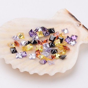 3mm Mixed Color Square Cubic Zirconia Cabochons