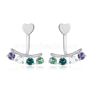 925 Sterling Silver Stud Earrings, with Austrian Crystal, Heart, Platinum, Mixed Color, 18x12mm(EJEW-BB34021)