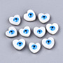 Natural Freshwater Shell Beads, with Enamel, Enamelled Sequins, Heart with Evil Eye, Dodger Blue, 9.5~10.5x10~11x4.5mm, Hole: 0.8mm