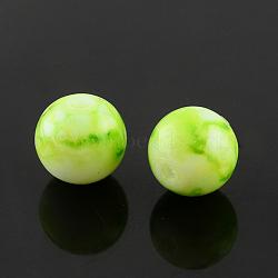 """Chapelets de perles en verre peint par pulvérisation, rond, teint, greenyellow, 6mm, trou: 1.3~1.6mm; environ 133 pcs/chapelet, 31.4""""(X-GLAA-R139-6mm-12)"""