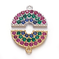 pendentifs demi-cercle en laiton zircon cubique micro pavé, demi-tour, coloré, couleur mélangée, 11x17.5x2.5 mm, trou: 1.2 mm(ZIRC-E158-04)