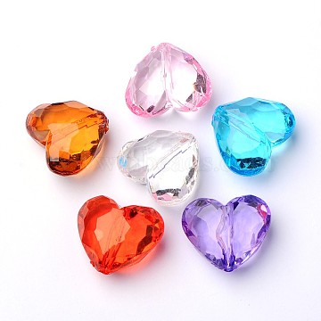 Transparent Acrylic Beads, Heart, Mixed Color, 25x29.2x16mm, Hole: 3mm(X-PL318Y)