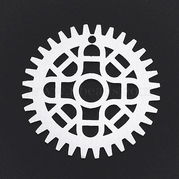 Aluminium Big Pendants, Laser Cut Big Pendants, Gear, Silver Color Plated, 50x1mm, Hole: 3mm(ALUM-T001-09S)