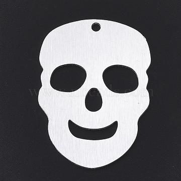 Aluminium Big Pendants, Laser Cut Big Pendants, Skull, Silver Color Plated, 50x36.5x1mm, Hole: 3mm(ALUM-T001-95S)