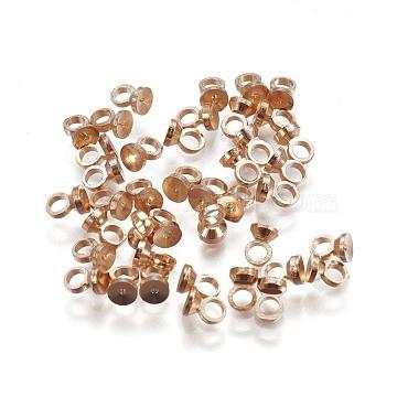 Brass Bead Cap Bails, for Globe Glass Bubble Cover Pendants, Flat Round, Light Gold, 4x2.8mm, Hole: 1.6mm(X-KK-F792-06LG)