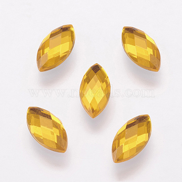 Taiwan Acrylic Rhinestone Cabochons, Back Plated, Flat Back and Faceted, Horse Eye, Goldenrod, 15x7mm(X-ACRT-G023-7x15mm-07)