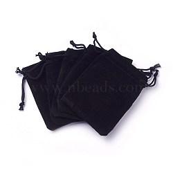 sacs à cordon en velours, sacs à bijoux, sacs-cadeaux de bonbons de mariage de fête de noël, noir, 7x5 cm(TP-C001-50x70mm-4)