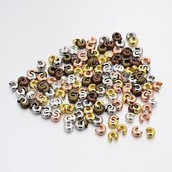 Couvertures de perles à sertir en fer, couleur mixte, 3 mm de diamètre, Trou: 1.2~1.5mm(X-IFIN-X0031-3mm)