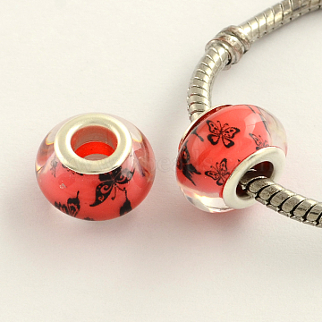 14mm Red Rondelle Acrylic Beads